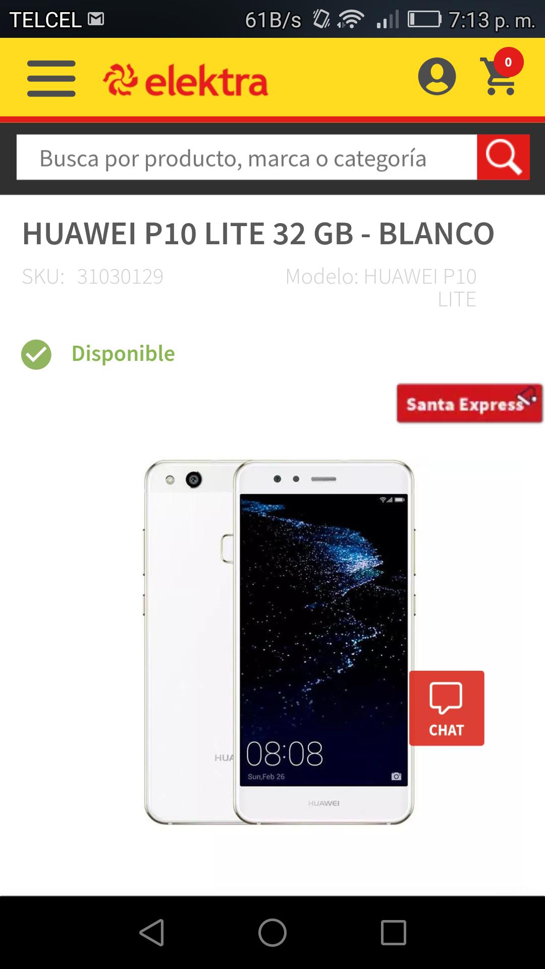 Elektra: Huawei P10 lite blanco o dorado con MercadoPago
