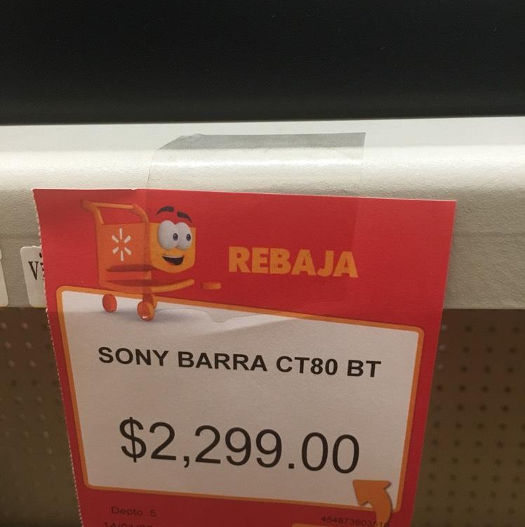 Walmart: Barra de sonido Sony conexión Bluetooth HT-CT80