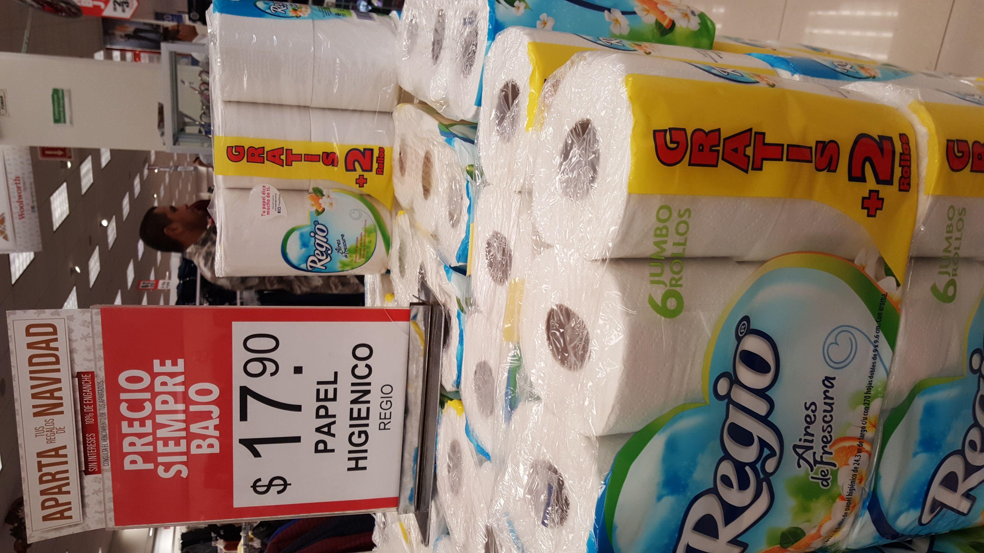 Woolworth Plaza Sendero Toluca: 6 Rollos de Papel higiénico regio a $17.90