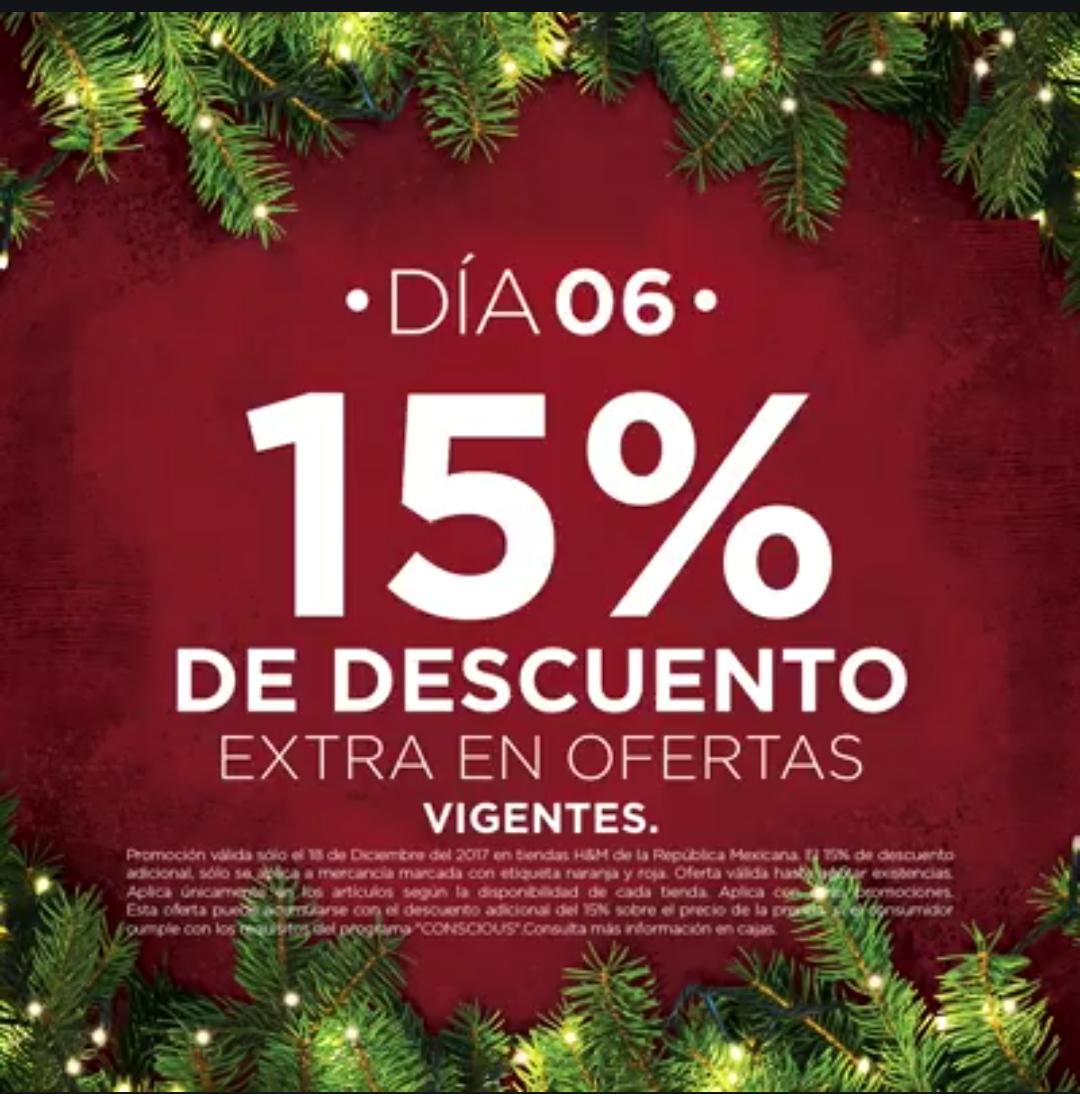 H&M: 6° Día de Navidad 18 Diciembre: 15% de descuento extra en ofertas vigentes