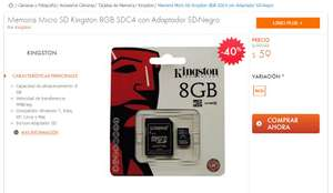 Linio: Memoria MicroSD + Adaptador Kingston 8GB $59 envio gratis con linio plus