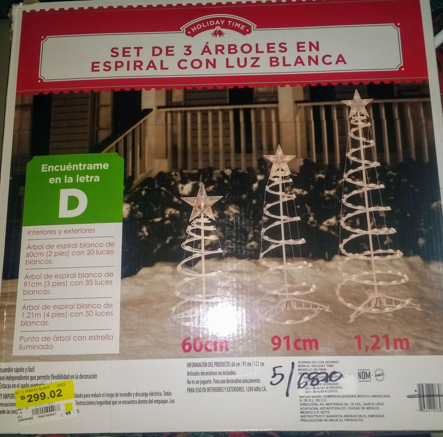WALMART: SET DE 3 ARBOLES CON LUZ BLANCA