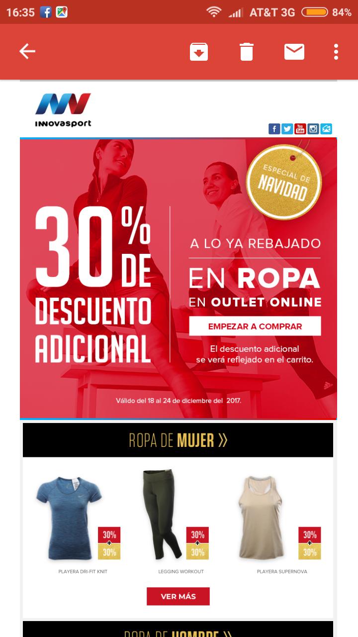 Innovasport: 30% adicional en ropa