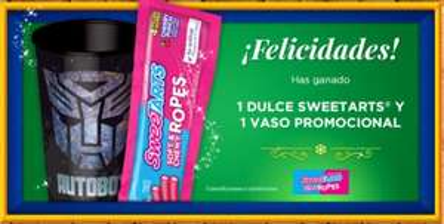 Navidad Cinépolis: Día 18 Dulce sweetarts + vaso promocional