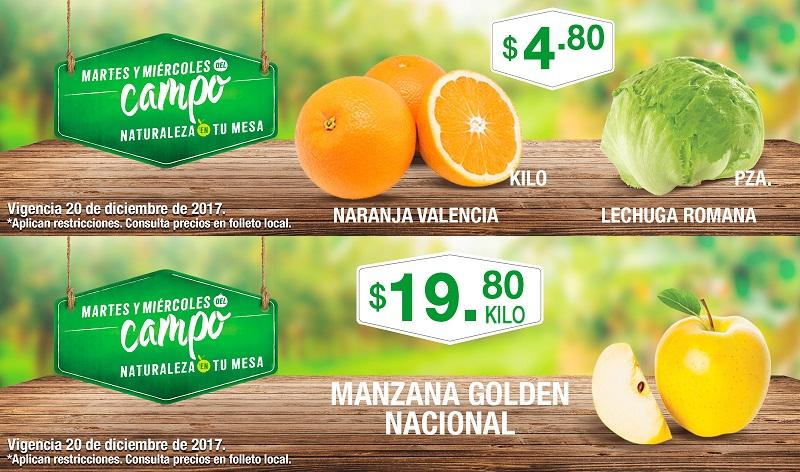 Comercial Mexicana y MEGA: Martes y Miércoles del Campo 19 y 20 Diciembre: Lechuga Romana $4.80 pza... Naranja Valencia $4.80 kg... Manzana Golden Nacional $19.80 kg.