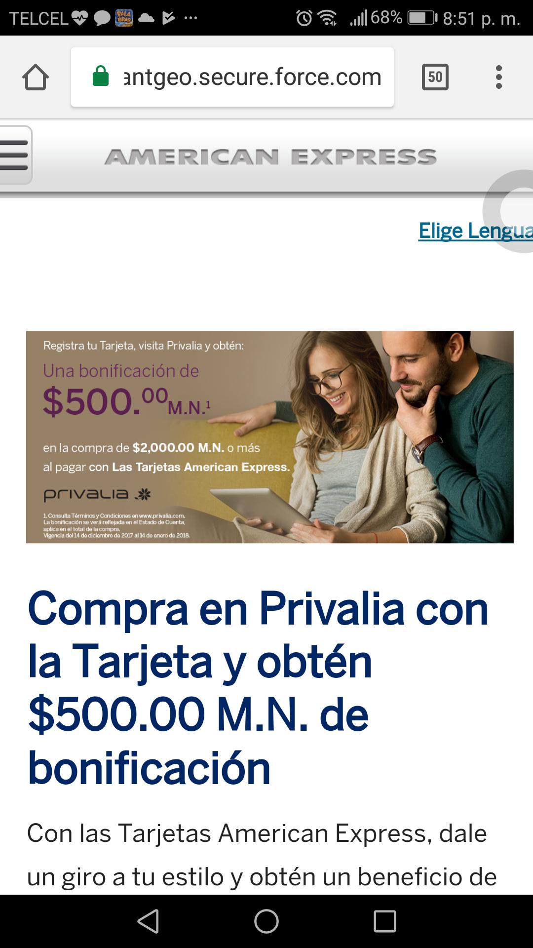 Privalia: Bonificación de $500 con tarjetas American Express