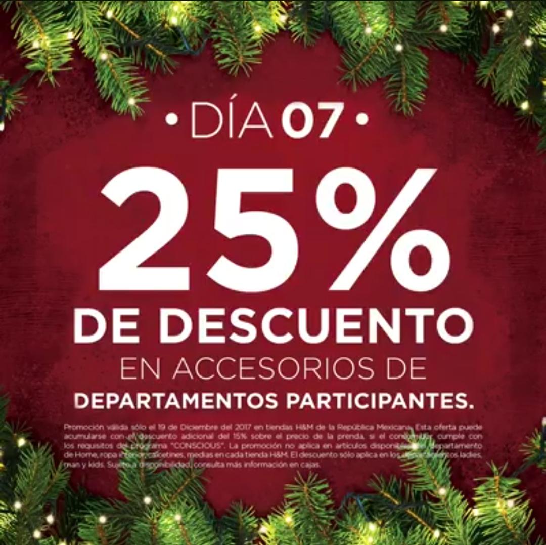 H&M: 7° Día de Navidad 19 Diciembre: 25% de descuento en accesorios de departamentos participantes