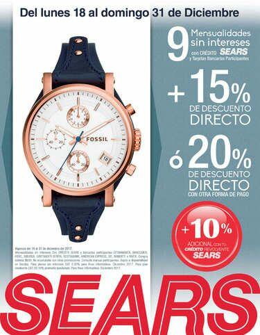 Sears: Relojes fósil con hasta 20% de descuento