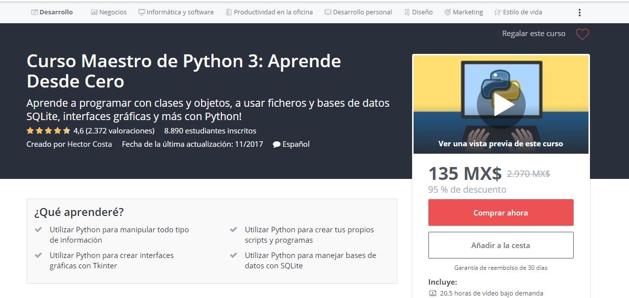 Udemy: Curso Maestro de Python 3: Aprende Desde Cero