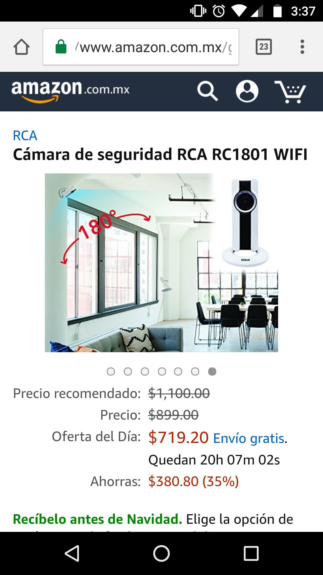 Amazon: Cámara de seguridad RCA RC1801 WIFI