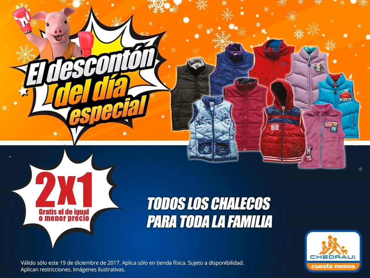 Chedraui: Descontón del Día 19 Diciembre: 2 x 1 en todos los chalecos para toda la familia