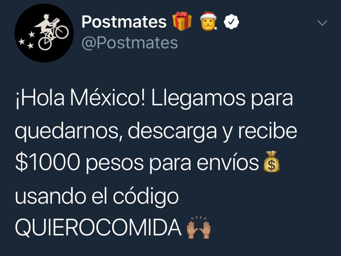 Postmates: $1000 para envíos usando código QUIEROCOMIDA