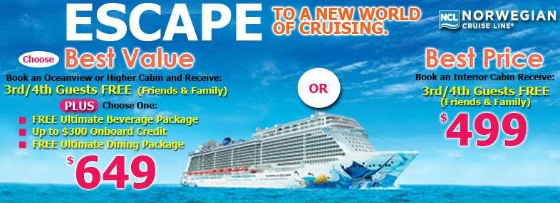 Norwegian Cruises: crucero 5* por 1 semana en el Caribe con balcón y bebidas US$1,946 cuatro pasajeros