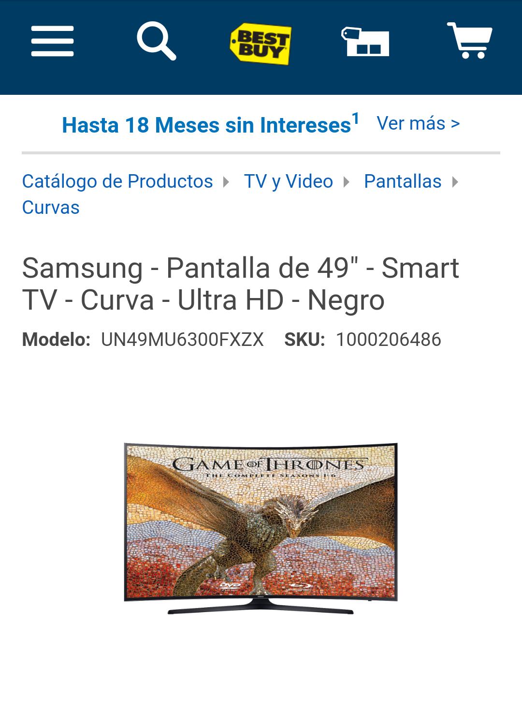 "Best Buy: pantalla Samsung UHD curva 49"" UN49MU6300FXZX"