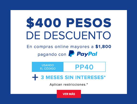 """Innovasport en Linea: $400 pesos de descuento usando PayPal usando el código """"PP400"""" en compras mayores a $1,800"""