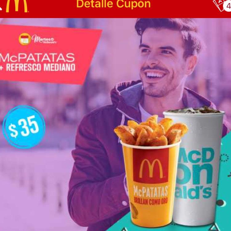 McDonald's App: McPatatas y refresco mediano