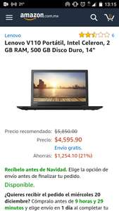 Amazon; Laptop Lenovo V110 Celeron 2GB RAM 500GB