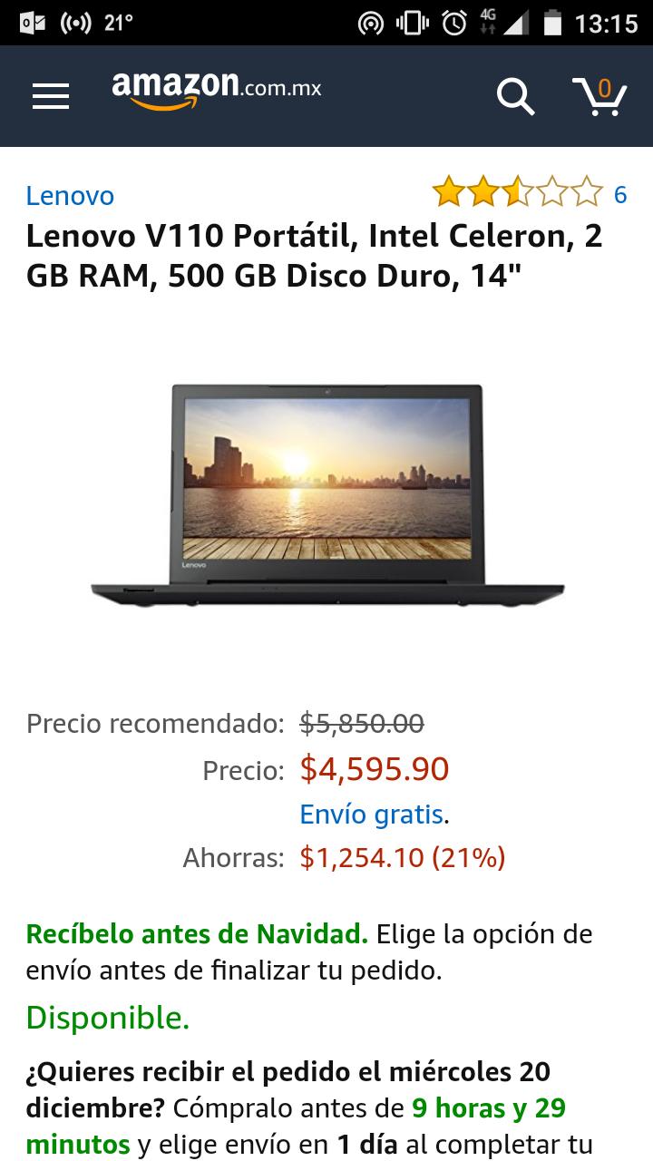 Amazon; Laptop Lenovo V110 Celeron 2GB RAM 500GB
