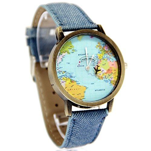 Amazon: Reloj para Mujer Análogo Modelo Mini World Pop BlackMamut Caratula con Mapa de Mundo Avión Giratorio Incluye estuche Blister aplica Prime