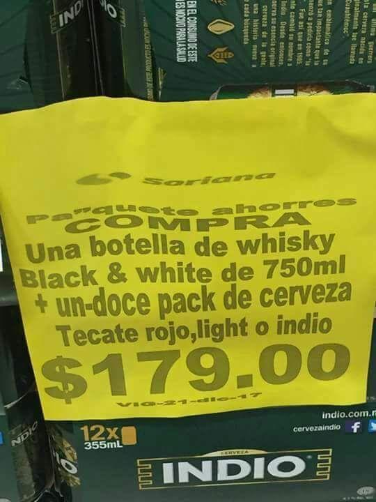 Soriana: Whiskey mas cheve