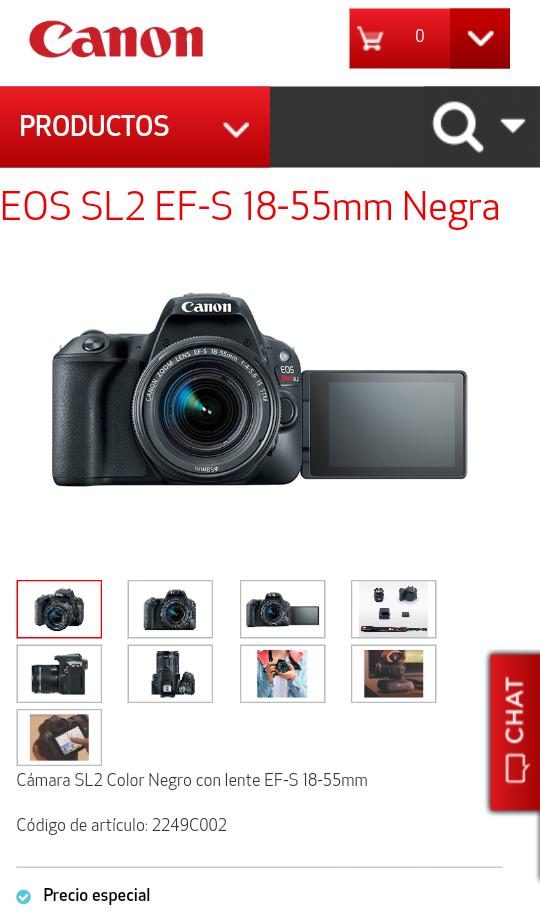 Tienda Canon: Cámara EOS SL2 EF-S 18-55mm