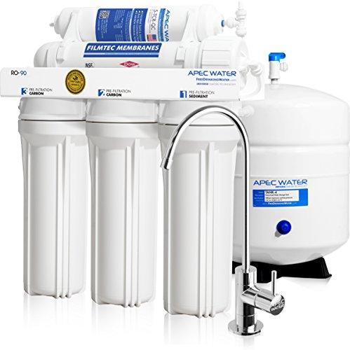 Amazon: Sistema de filtración de agua de alto flujo 409 lts / seg marca APEC RO-90