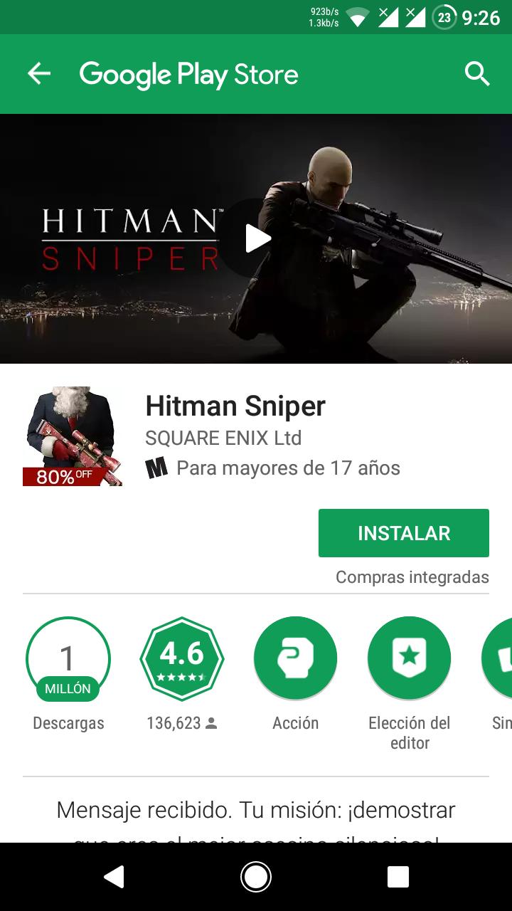 Play store: Hitman Sniper Gratis!