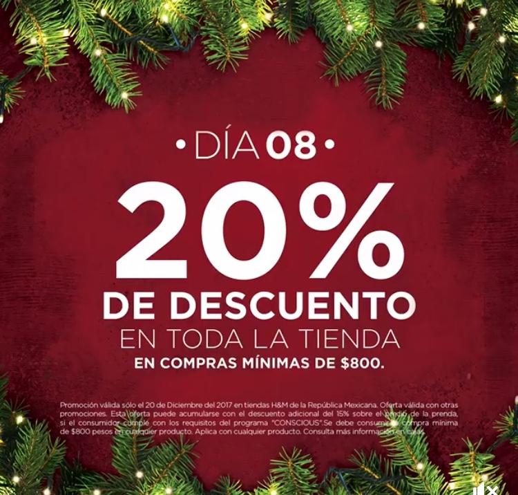 H&M: día 08  20% de descuento en toda la tienda