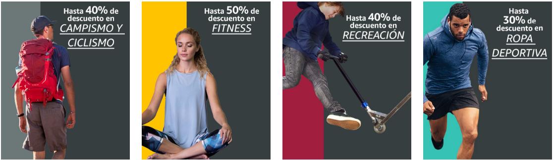 Amazon: % de descuento en varios departamentos. Ropa deportiva, campismo y ciclismo, fitness y recreación