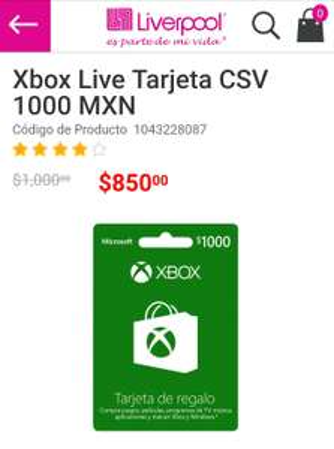 Liverpool: descuentos en Xbox Live Tarjetas, por ejemplo $1000MXN a $850 (Venta Especial Navideña)