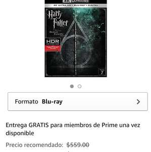 Amazon: Harry Potter y Las Reliquias de la Muerte Parte 2 4K UHD)