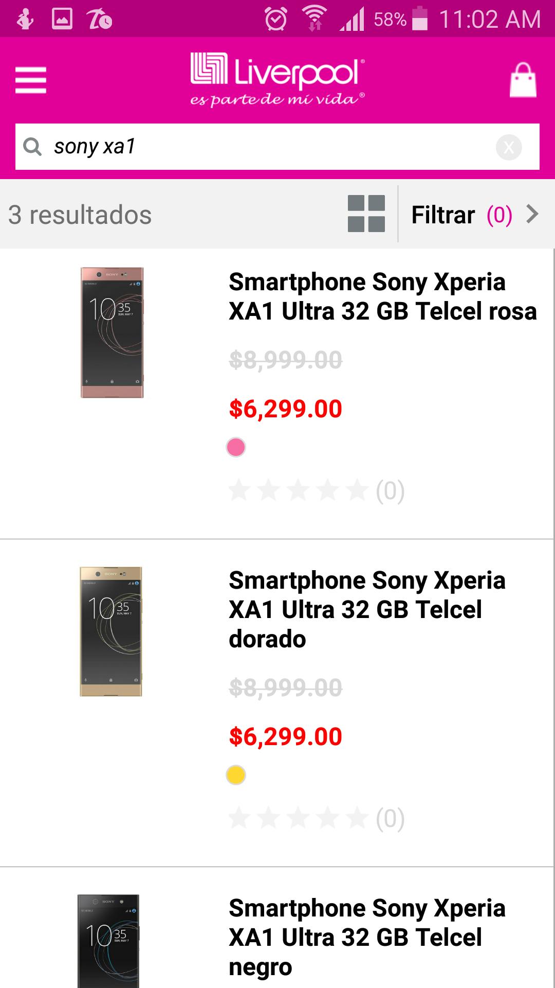 Liverpool:Sony Xperia XA1 ultra