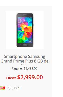 "Soriana: Smartphone Samsung Grand Prime Plus 8 GB de 5"" desbloq. negro"