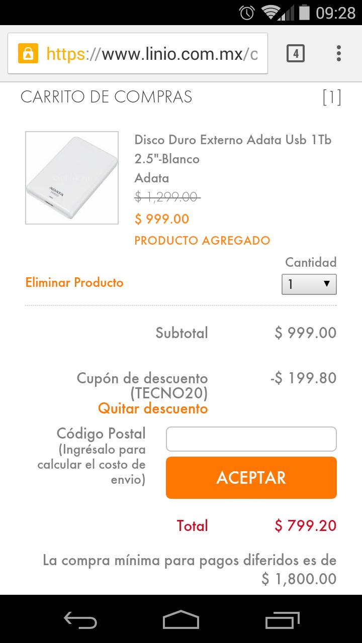 Linio: Disco Duro externo ADATA 1tb $799.20 + envio