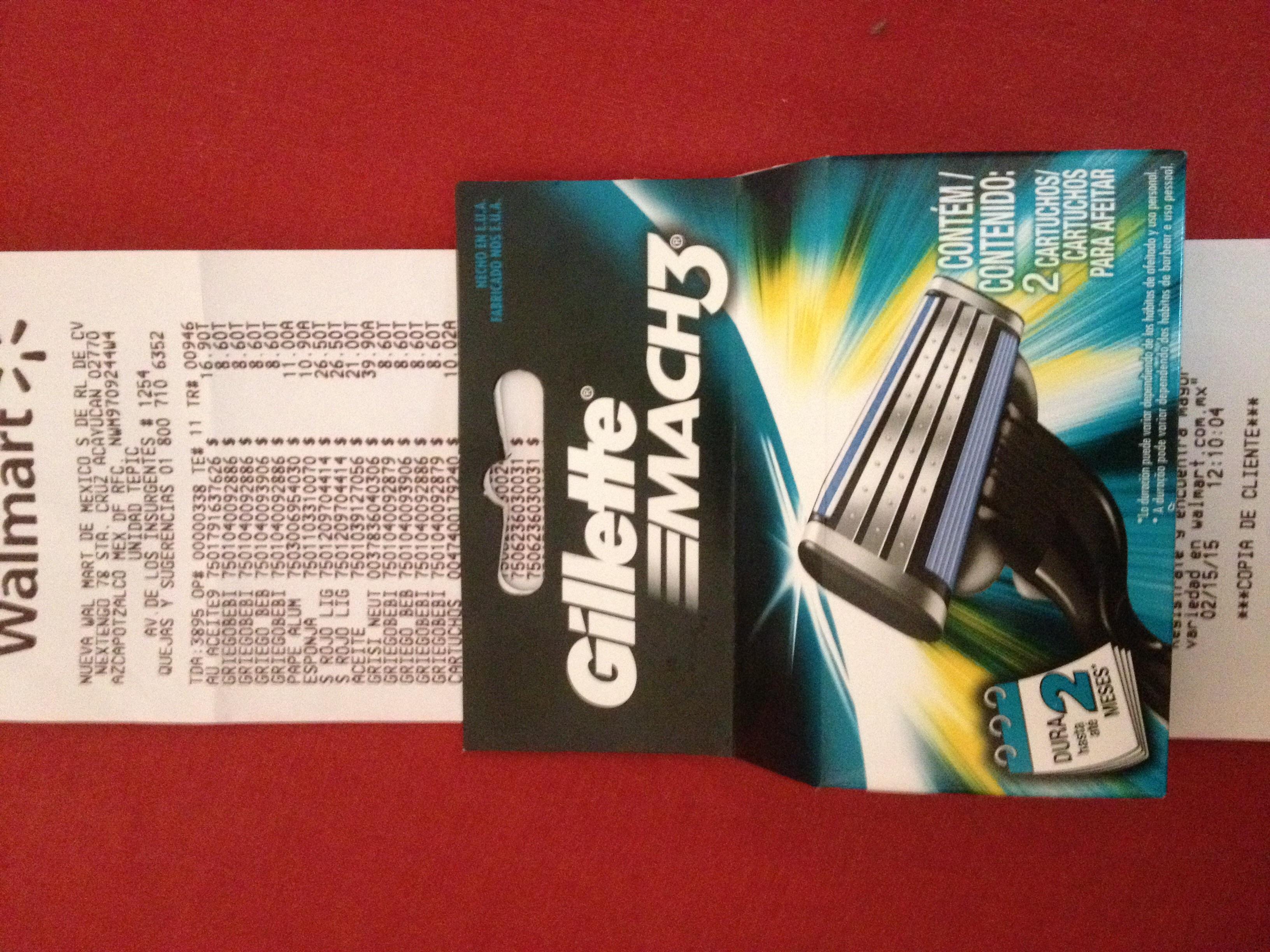 Walmart: 2 repuestos Gillette Mach 3 $ 10.02