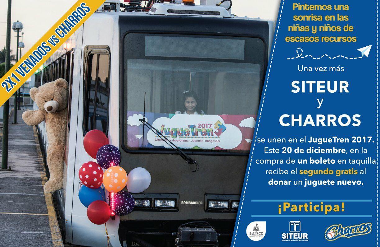 Tren Ligero Gdl: Béisbol GDL 2x1 juego charros vs venados, compra 1 boleto y recibe el 2do gratis donando un juguete nuevo