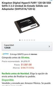 Amazon: Kingston Digital HyperX FURY 120 GB SSD con cupón prime