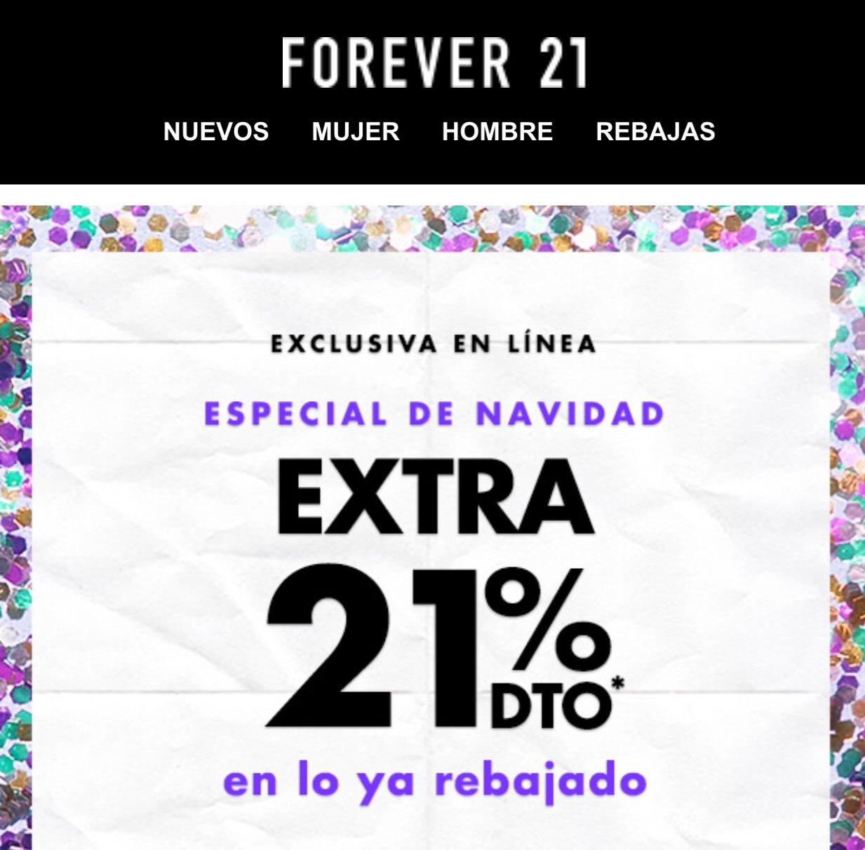 Forever 21: 21% de descuento en lo ya rebajado Exclusiva en Línea