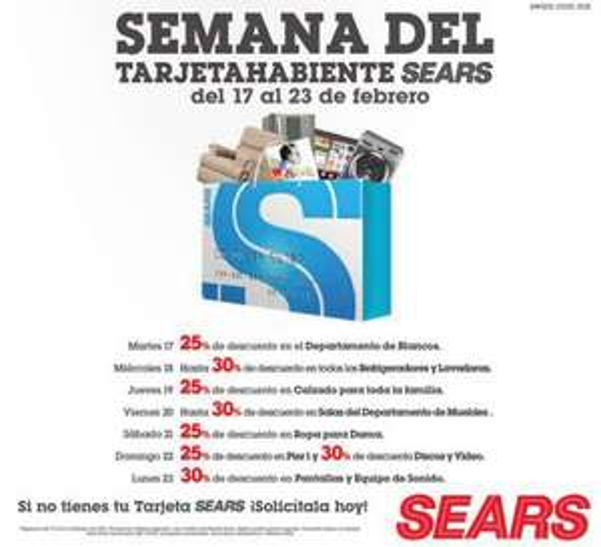 Sears: sermana del tarjetahabiente del 17 al 23 de febrero
