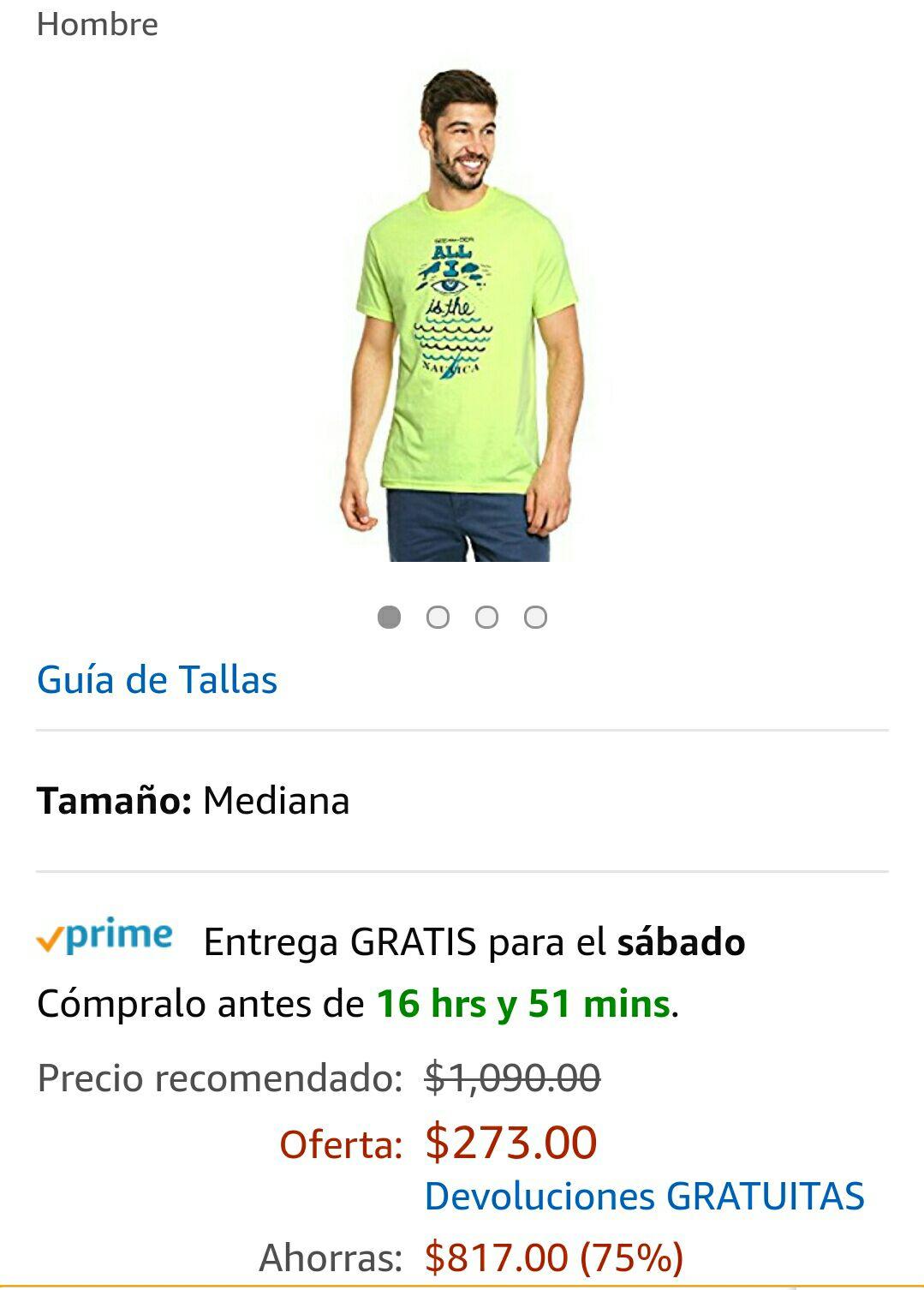 Amazon: Playera Náutica Verde Mediana