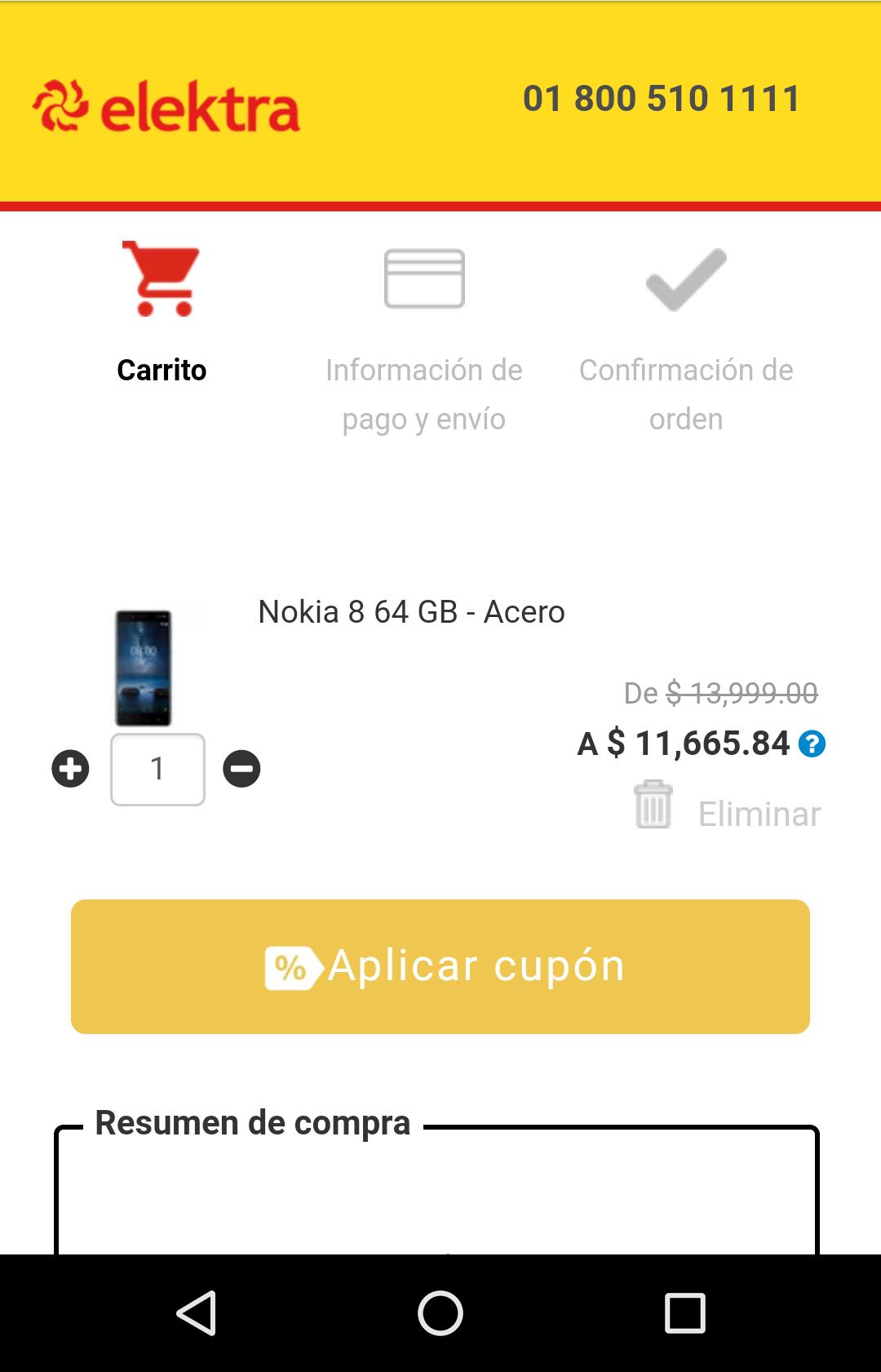 Elektra: Nokia 8 con descuento de nuevo.