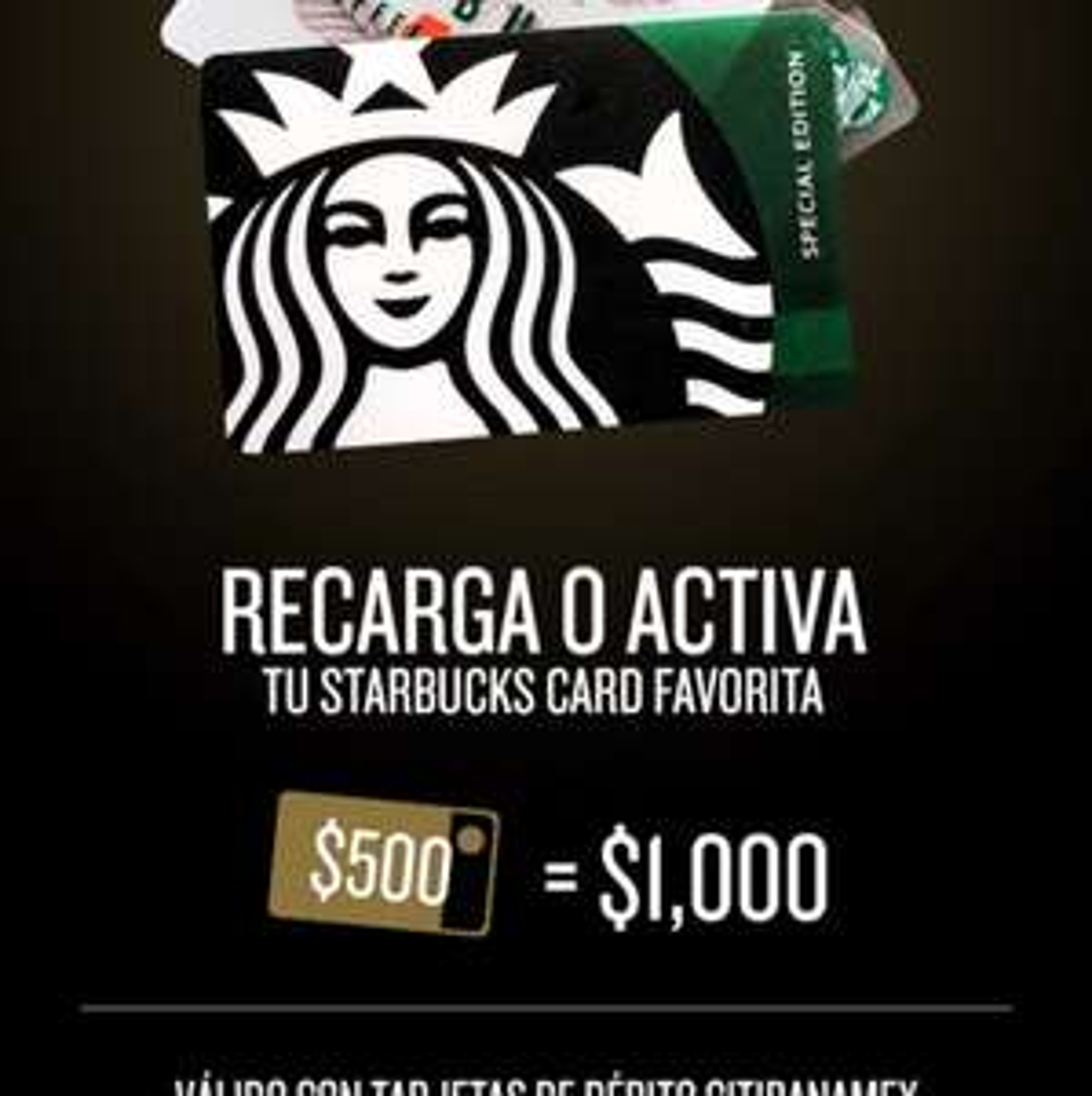 Starbucks: Recarca $500 con Banamex y recibe $1000