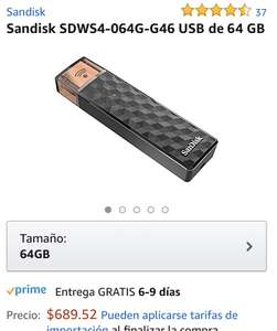 Amazon: Memoria USB Sandisk WiFi 64Gb  BARA SDWS4-064G-G46