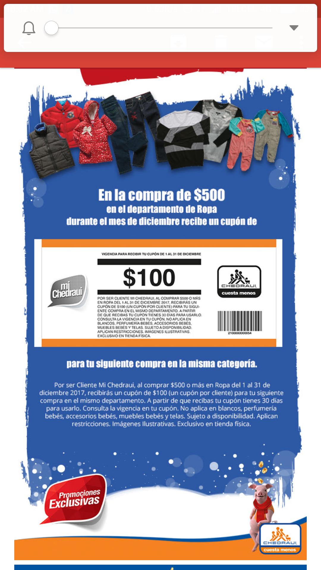 Chedraui: REGRESO EL ORO MOLIDO RECARGADO, cupón de $100 de descuento por cada $500 en ropa