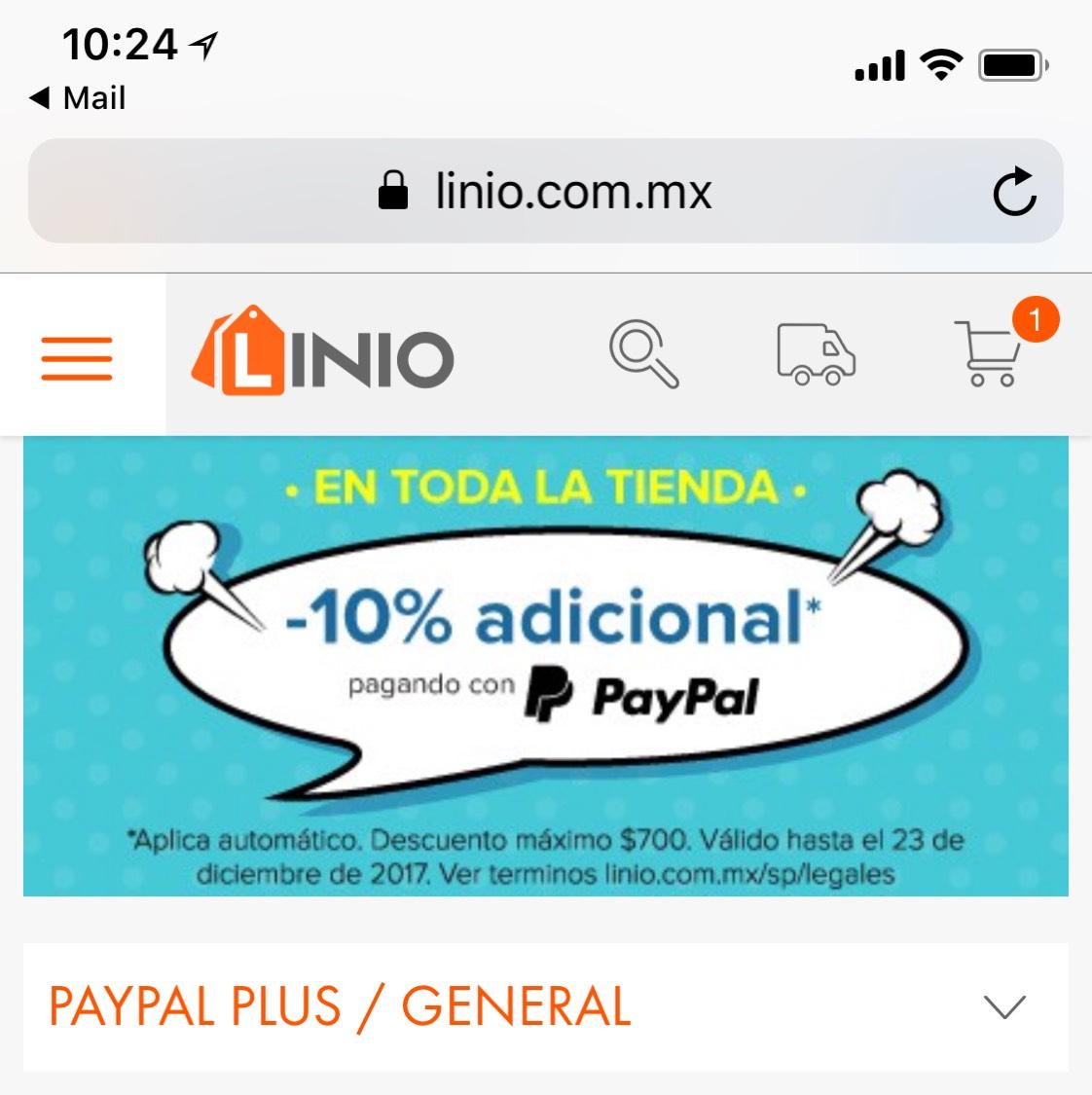 Linio: 10% de descuento adicional pagando con PayPal. descuento máximo $700