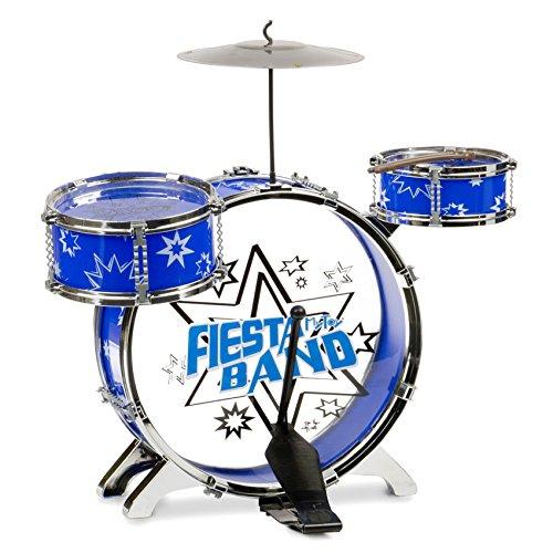 Amazon: Bateria Mytoy Fiesta Band con bombo, dos tambores, platillo, panel, dos baquetas y banco -Azul Aplica PRIME