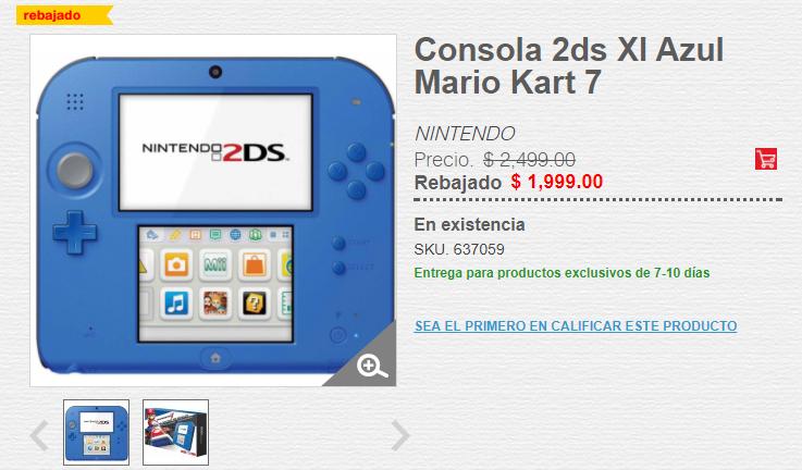 HEB: Consola Nintendo 2DS XL con Mario Kart 7 precargado, heb.com.mx