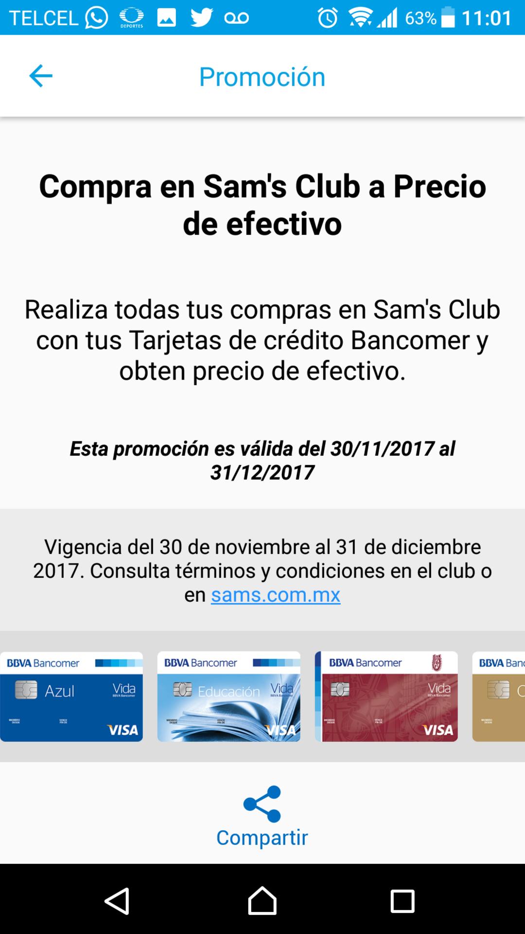 Sam's Club: Precio de efectivo pagando con tarjeta Bancomer