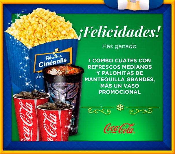 Navidad Cinepolis: Día 21 (Y último) Combo cuates: 2 refrescos + palomitas + vaso