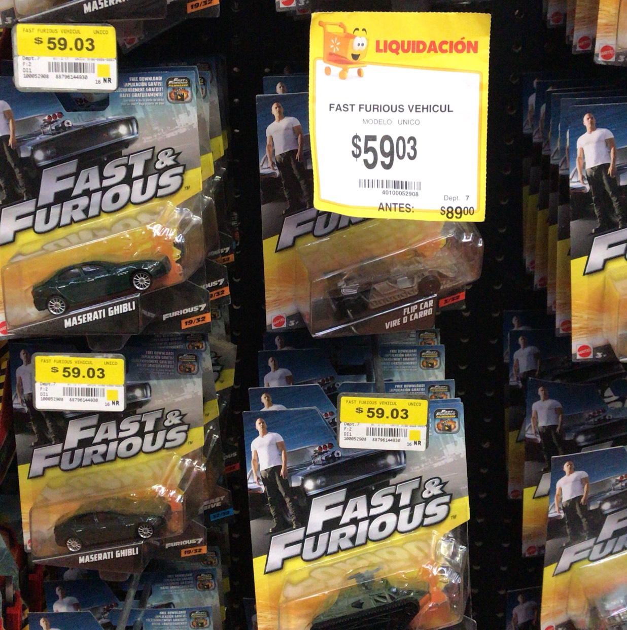 Wamart: Carritos rápido y furioso $59.03
